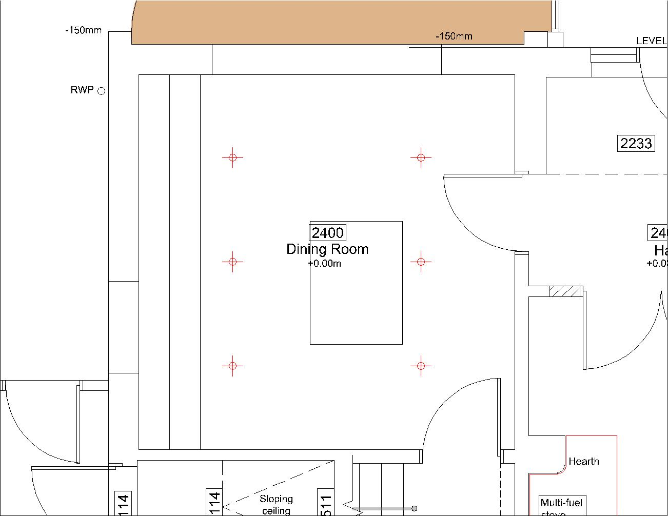 cad drawing showing plan on dining room