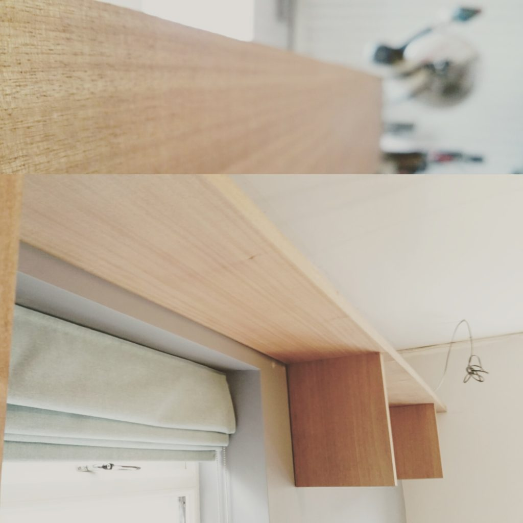 Picture showing top horizontal shelf with three vertical supports made from the same wood