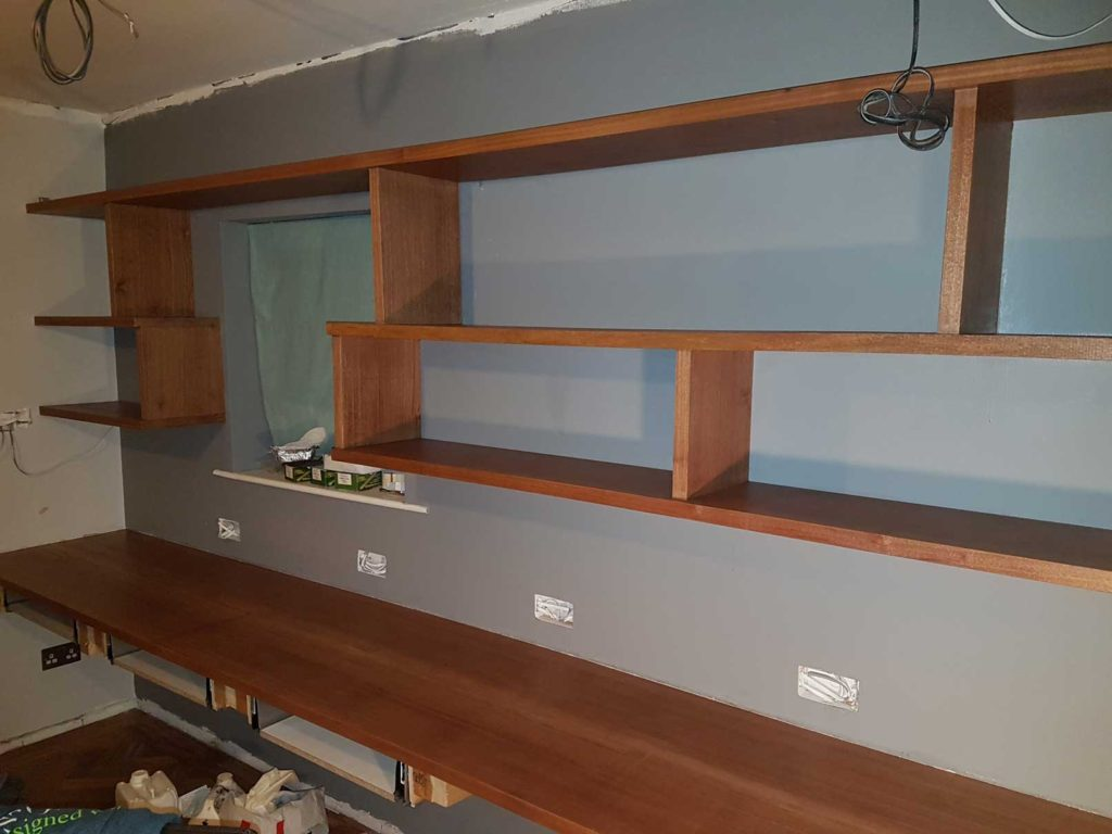 shelf wall and desk laquered