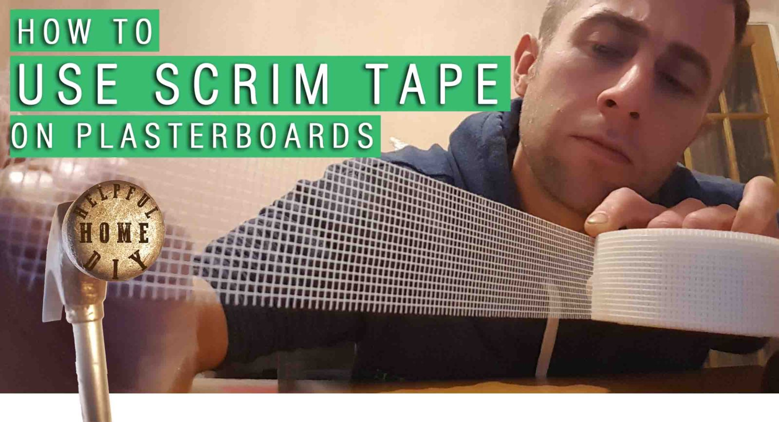 """sam holding up scrim tape with the title reading """"how to use scrim tape"""""""