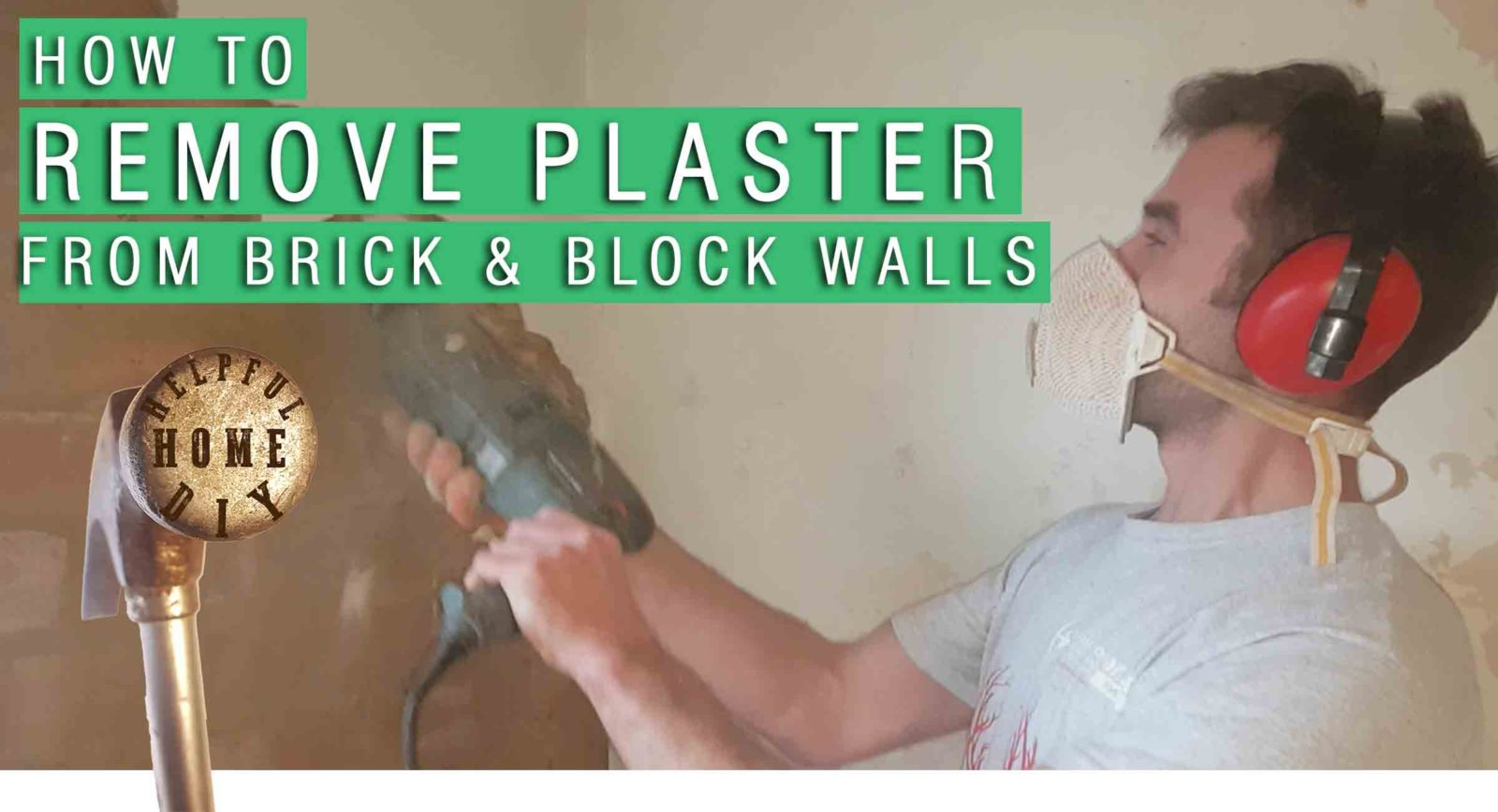 image of sam removing plaster from a wall with the title at the top