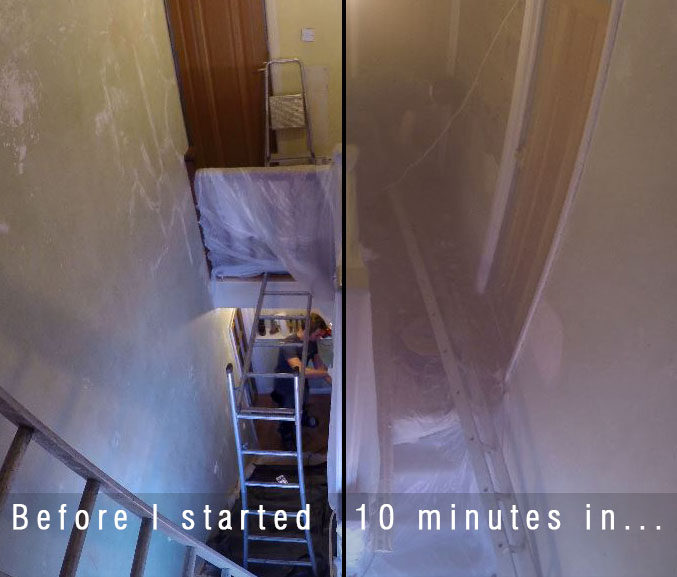 before and after pictures. to the left shows sams stairs before he started to remove the plaster, to the right is the same stairwell during the plaster removal. this is to highlight how much dust is created whilst removing plaster