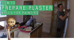 picture of sam sanding down a wall, with the title How to prepare plaster walls for painting