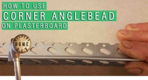 "featured image containing angle bead alongside a sheet of plaster with the tital ""how to use corner anglebead on plasterboard"