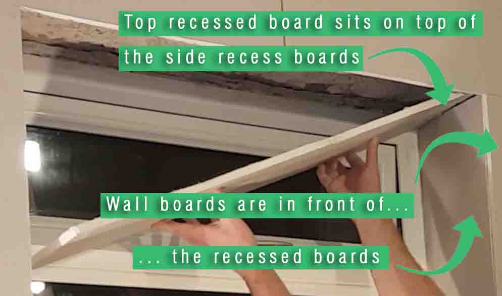 picture showing how plasterboard is shaped within a window recess