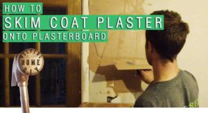 "picture of sam applying skim coat plaster to plasterboard, with the title in the foreground saying ""how to skim coat plaster onto plasterboard"