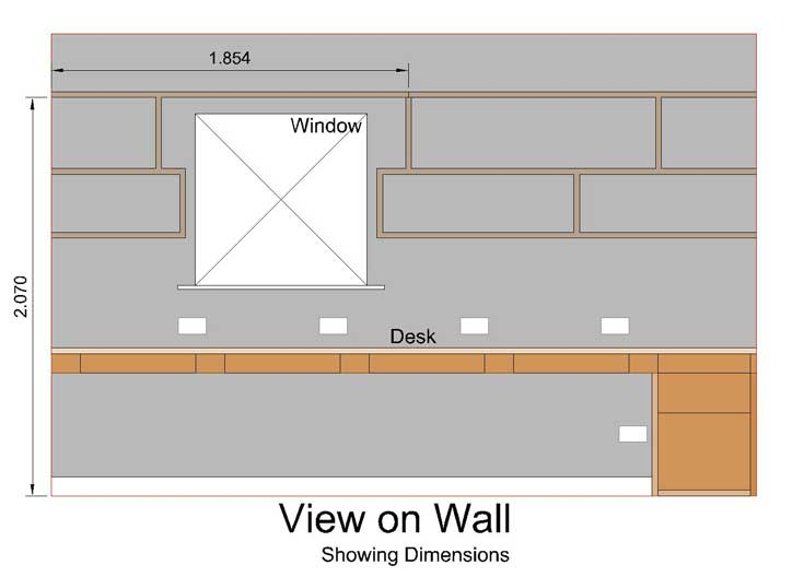 front view on shelf wall showing 2.07m dimension line from floor to underside of shelf plank