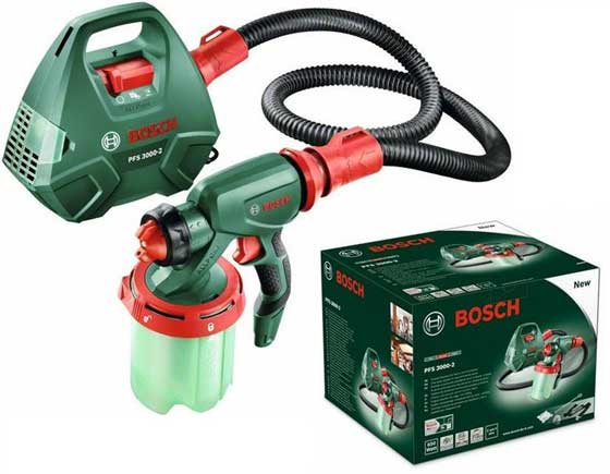 picture showing The Bosch PFS 3000-2 spray gun. consisting of a compressor box, connected to the hand held nozzle with a hose