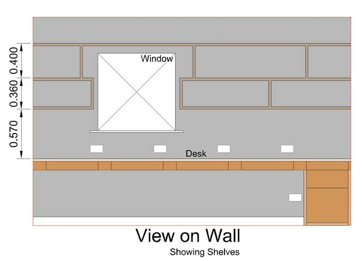 now the same wall cad drawing but showing the proposed shelves
