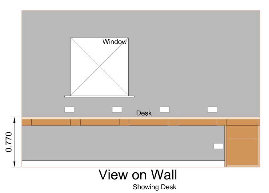 the same cad drawing but also showing the proposed desk