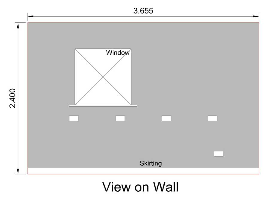 cad drawing showing the wall with things on it, such as sockets, window opening and sill etc.