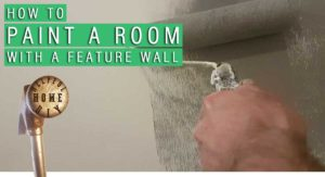"picture of roller half spreading paint onto a wall with the title ""hoe to paint a room with a feature wall"""