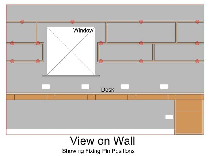 same view on shelf wall but this time showing the positions of the where the concealed hidden fixings will go