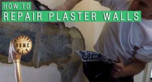 "picture of a pathc of plaster removed from a wall with same applying PVA. title reads ""How to repair plaster walls"""