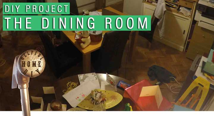 """image with a faded dining room with text overlaying the picture. the text reads: """"DIY project - the dining room""""."""