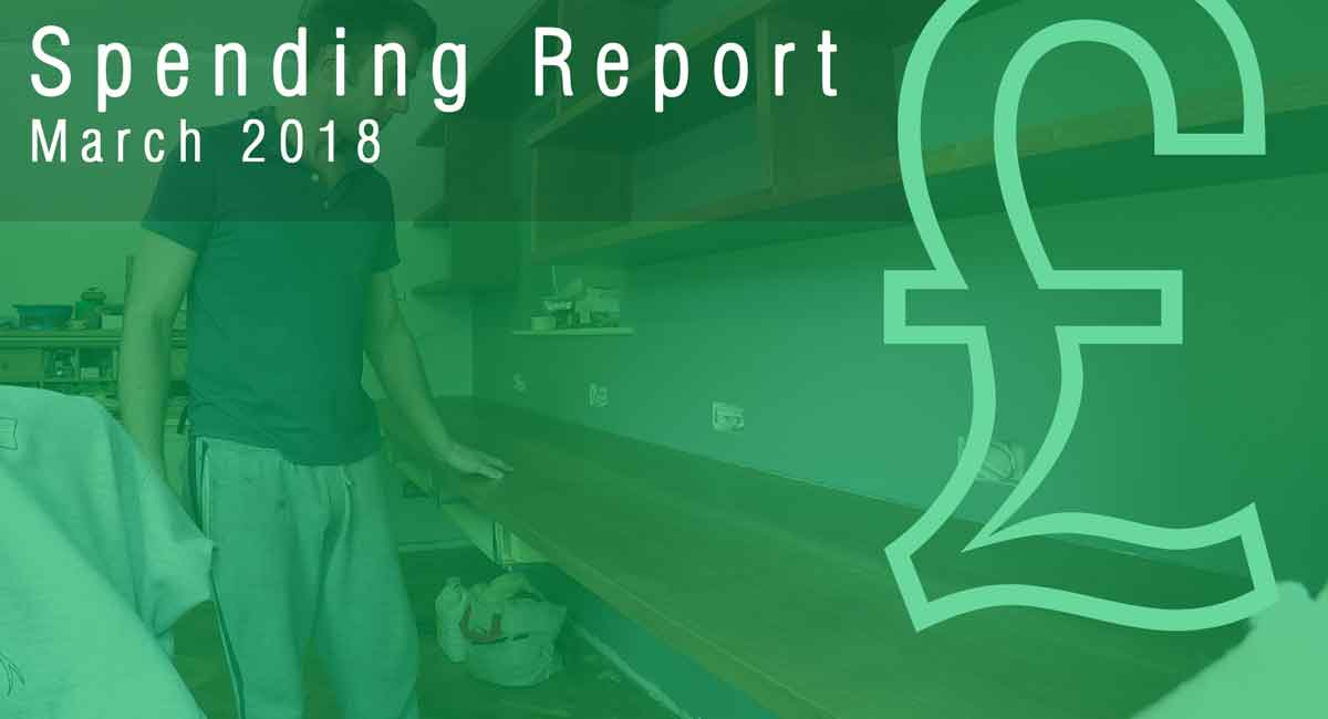 march diy spending report with a picture of sam in the background showing off his new desk