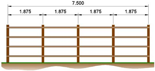 elevation on example fence with 15m overall distance