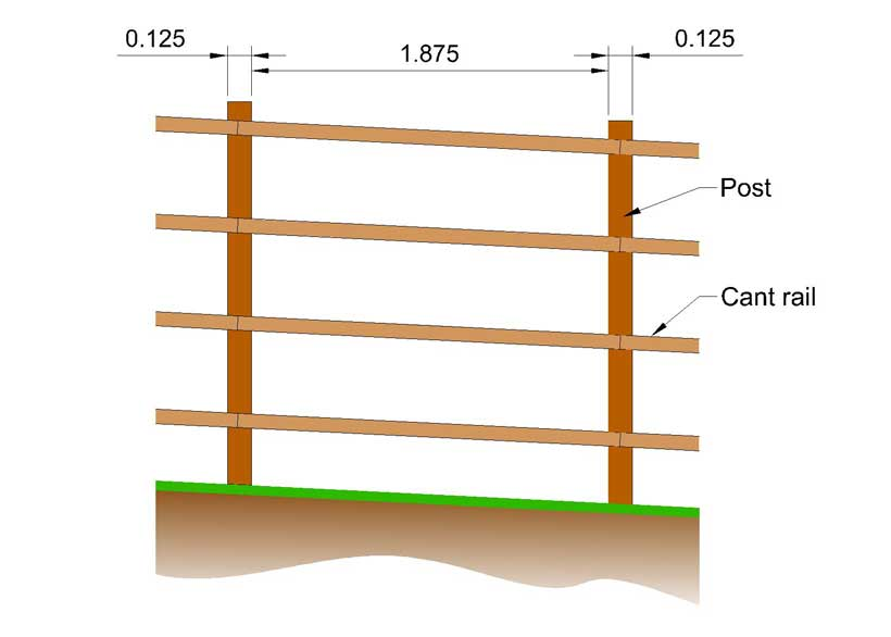 side view of sketch of sams fence showing distance between his posts and the cant rails between, including dimensions