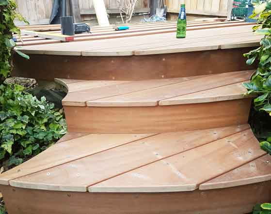 decking steps showing step treads and risers made from decking