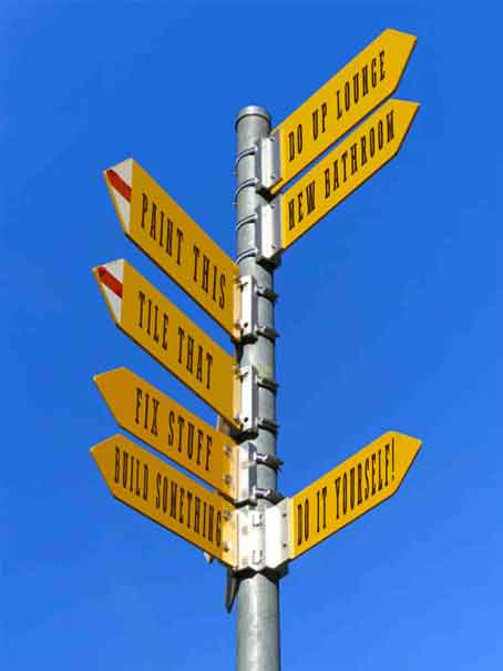 signposts with signage showing various decisions to marke when doign DIY in your home