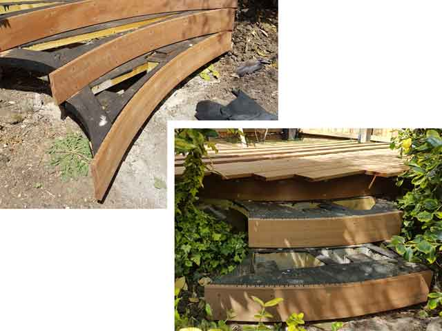 two sets of steps for sams decking platform curved construction