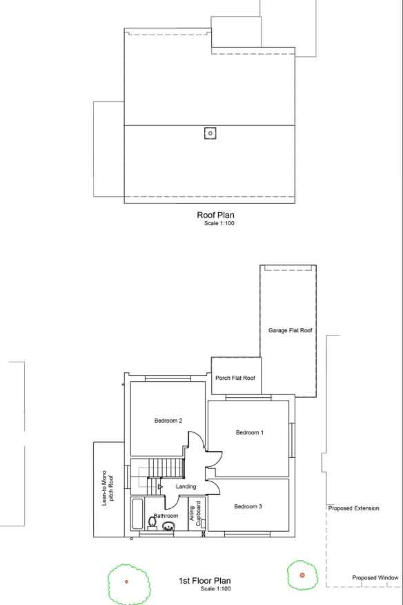 plans showing the first floor layout as if looking down, like a map. also a plan on the roof. the first floor layout shows the existing bedrooms and bathroom