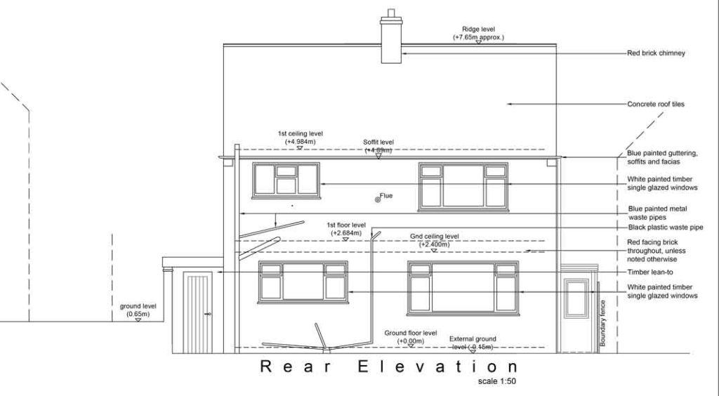 line drawing showing the existing rear elevation of sams house, as if looking from the rear garden. four windows, some downpipes, the roof and chimney