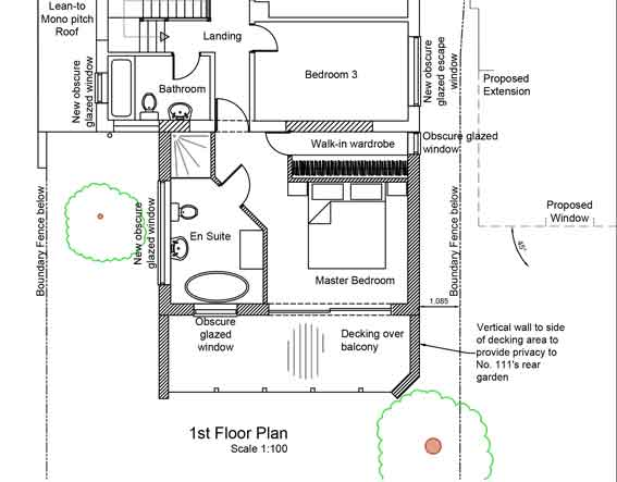 plan view on first floor of the extension showing main bedroom with en suite and walk-in wardrobe