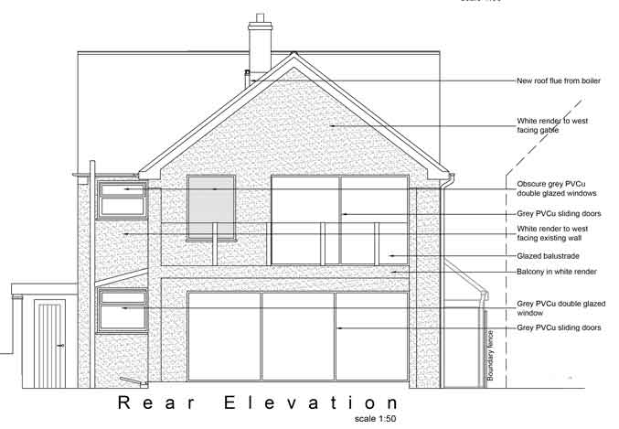 rear elevation in simple black and white for planning purposes. showing windows and doors and balcony