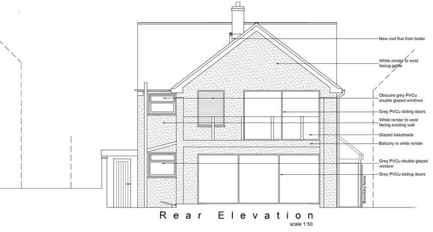 rear elevation on the proposed extension. labelled up with white render walls, grey windows. There is a large 3 bay sliding door and window on the ground floor and a smaller sliding door and window on the 1st floor