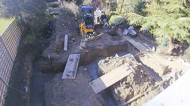 top down view on foundations having just been poured with concrete
